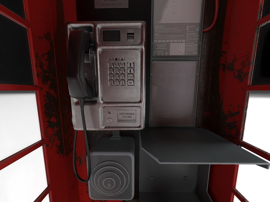 Telephone box royalty-free 3d model - Preview no. 3