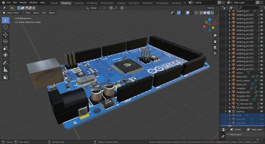 Arduino Mega royalty-free 3d model - Preview no. 12