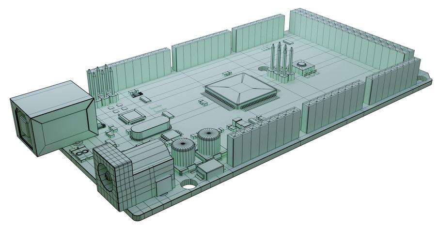 Arduino Mega royalty-free 3d model - Preview no. 9