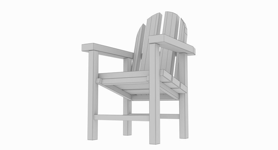 Strand houten stoel royalty-free 3d model - Preview no. 7