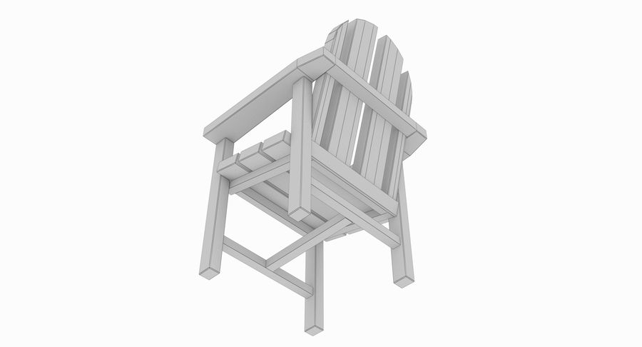 Strand houten stoel royalty-free 3d model - Preview no. 8