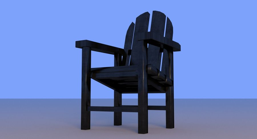 Strand houten stoel royalty-free 3d model - Preview no. 2