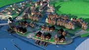 川の近くの街並み 3d model