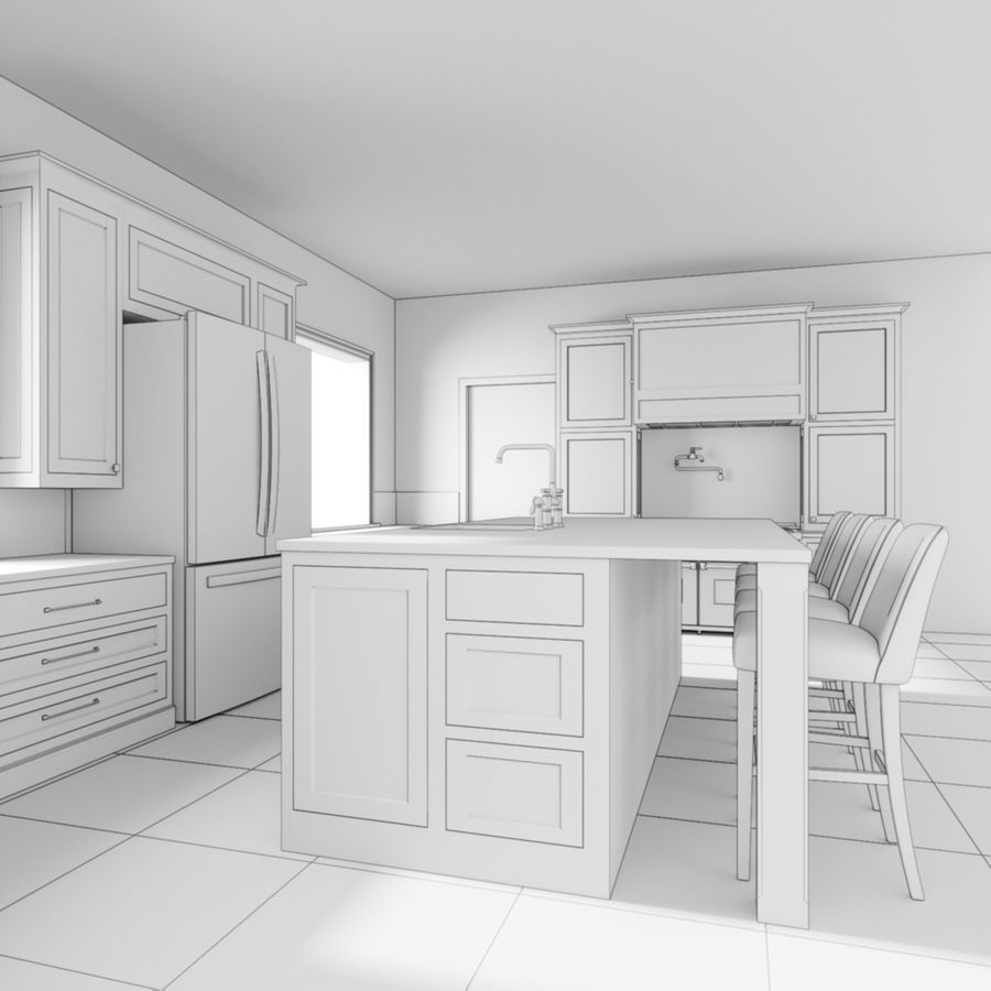 3Dキッチンブランコ royalty-free 3d model - Preview no. 6