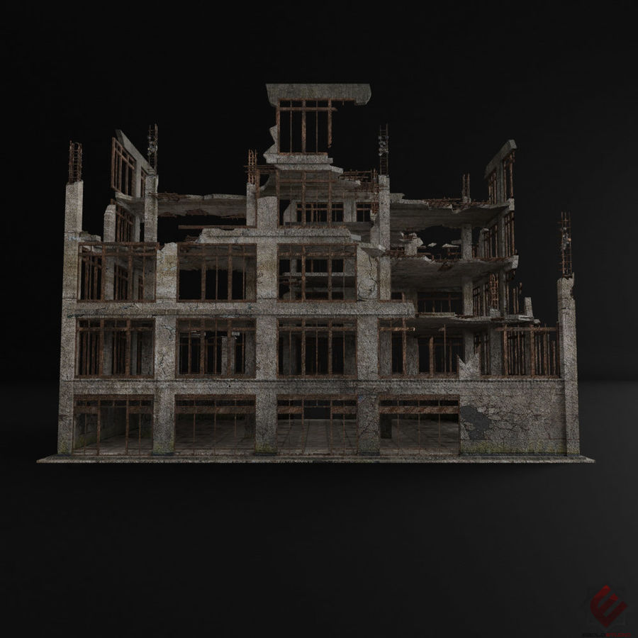 DESTROYED BUILDING ABANDONED POST APOCALYPSE royalty-free 3d model - Preview no. 3