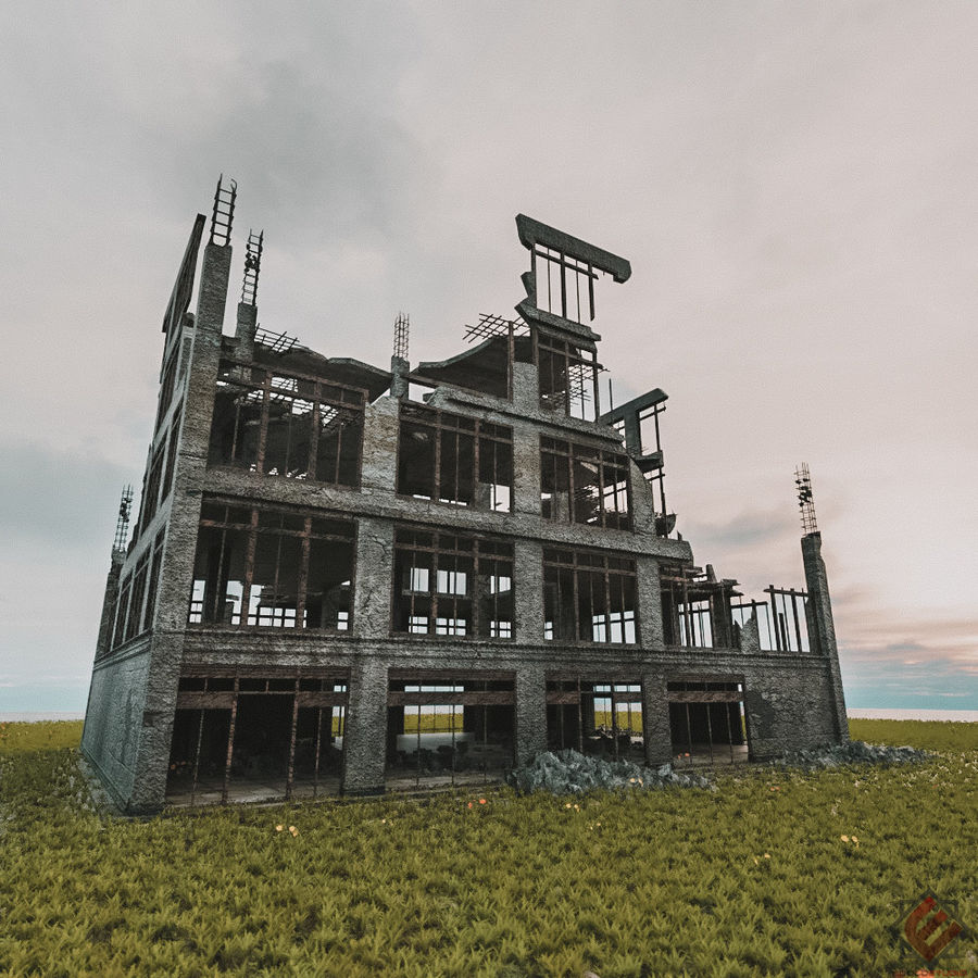 DESTROYED BUILDING ABANDONED POST APOCALYPSE royalty-free 3d model - Preview no. 1