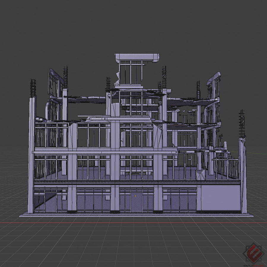DESTROYED BUILDING ABANDONED POST APOCALYPSE royalty-free 3d model - Preview no. 7