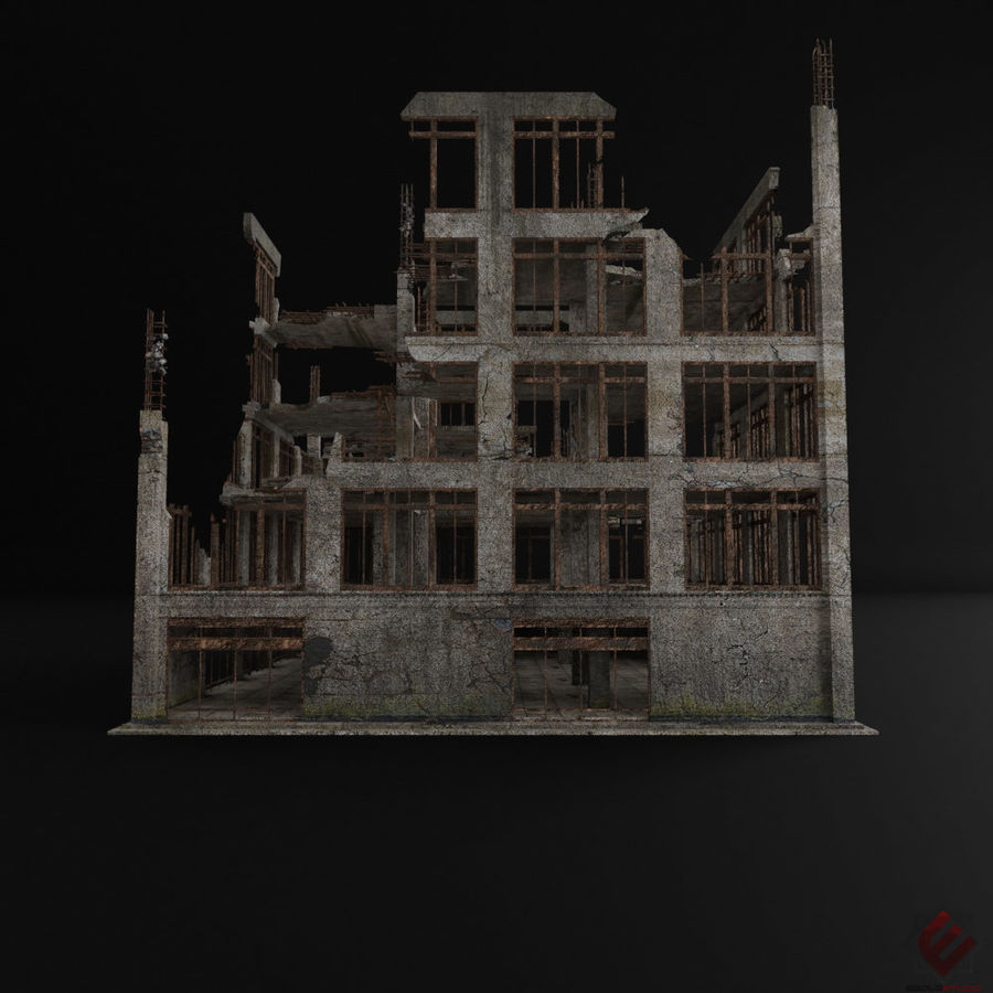 DESTROYED BUILDING ABANDONED POST APOCALYPSE royalty-free 3d model - Preview no. 6