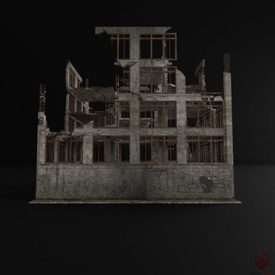 DESTROYED BUILDING ABANDONED POST APOCALYPSE royalty-free 3d model - Preview no. 4