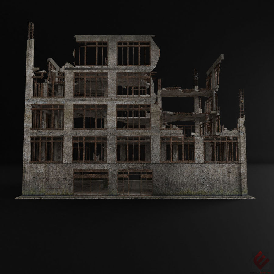 DESTROYED BUILDING ABANDONED POST APOCALYPSE royalty-free 3d model - Preview no. 5