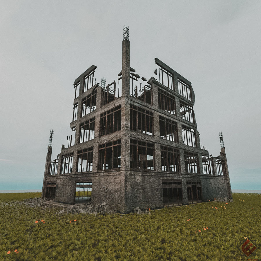 DESTROYED BUILDING ABANDONED POST APOCALYPSE royalty-free 3d model - Preview no. 2