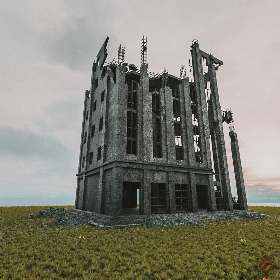 BUILDING DESTROYED APOCALYPSE WAR OLD RUIN SURVIVAL royalty-free 3d model - Preview no. 1