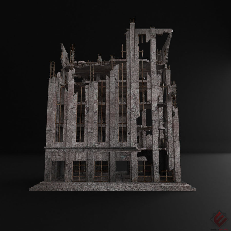 BUILDING DESTROYED APOCALYPSE WAR OLD RUIN SURVIVAL royalty-free 3d model - Preview no. 3