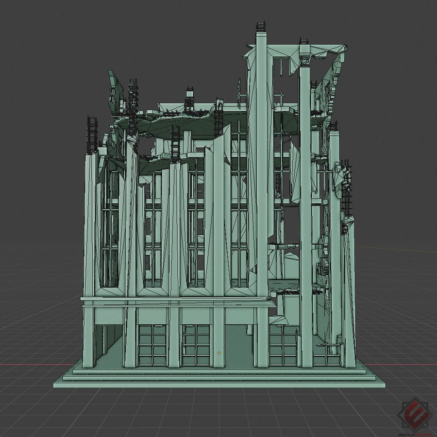 BUILDING DESTROYED APOCALYPSE WAR OLD RUIN SURVIVAL royalty-free 3d model - Preview no. 7