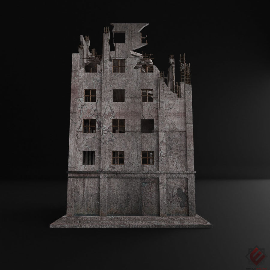 BUILDING DESTROYED APOCALYPSE WAR OLD RUIN SURVIVAL royalty-free 3d model - Preview no. 4