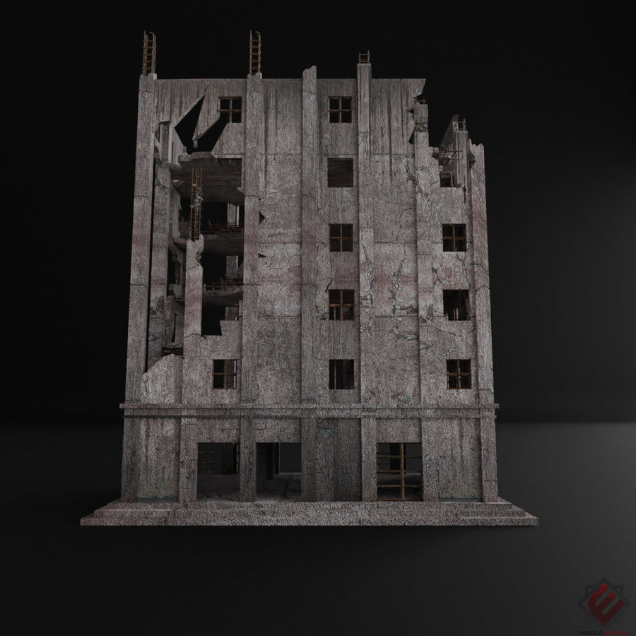 BUILDING DESTROYED APOCALYPSE WAR OLD RUIN SURVIVAL royalty-free 3d model - Preview no. 5