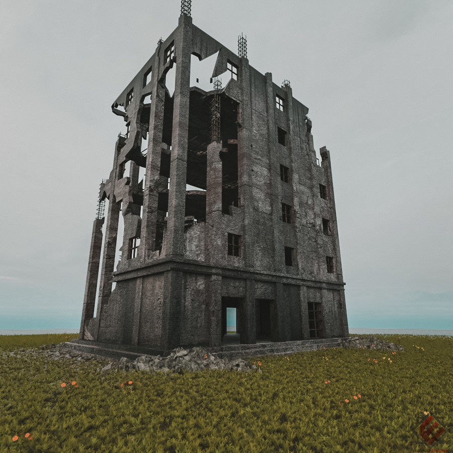BUILDING DESTROYED APOCALYPSE WAR OLD RUIN SURVIVAL royalty-free 3d model - Preview no. 2