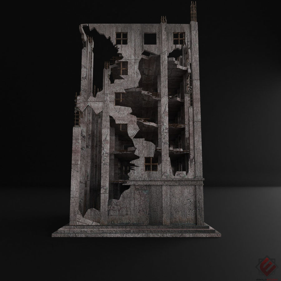 BUILDING DESTROYED APOCALYPSE WAR OLD RUIN SURVIVAL royalty-free 3d model - Preview no. 6