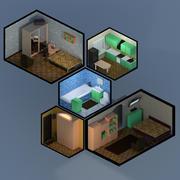 公寓-低聚屋 3d model