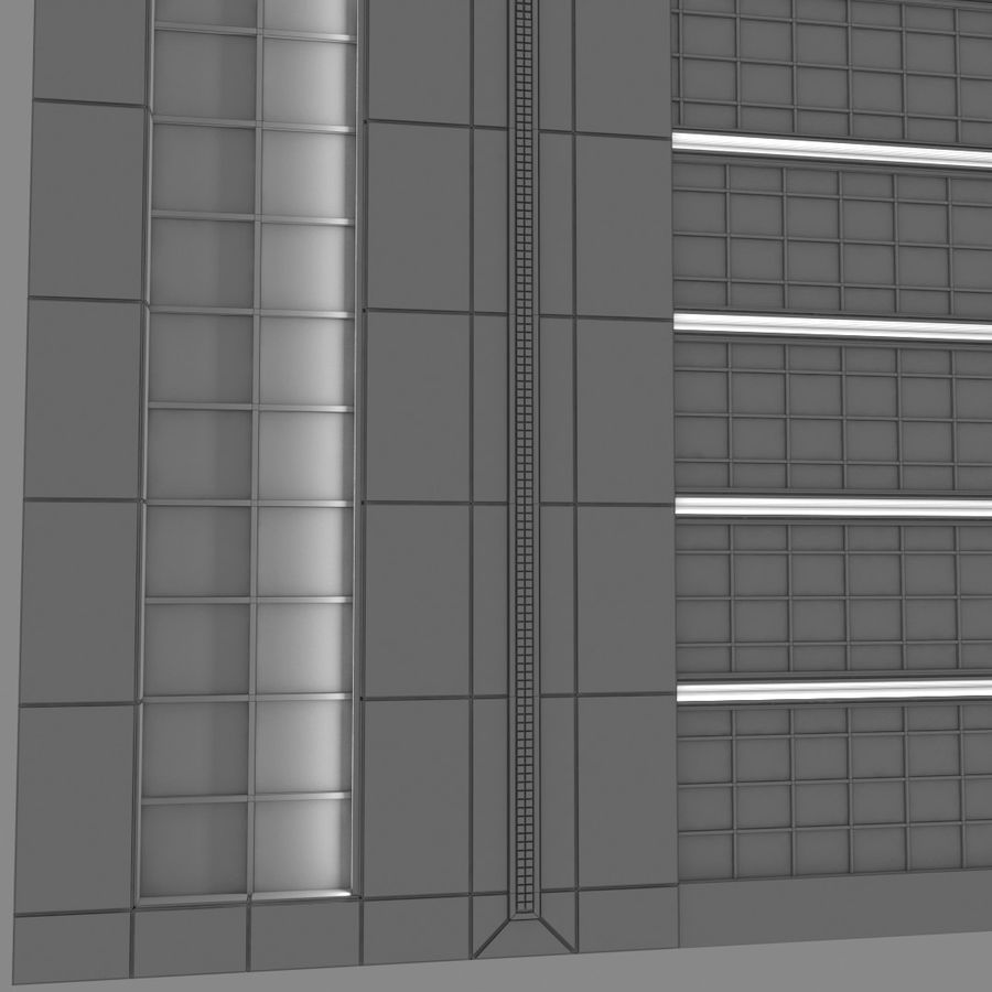 Modello semplice del grattacielo con l'animazione leggera principale scorrevole sulla facciata royalty-free 3d model - Preview no. 4