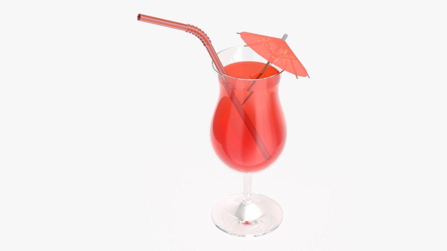 Szkło tulipanowe z pomarańczową słomką juce i parasolem royalty-free 3d model - Preview no. 3