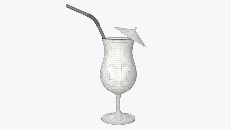 Szkło tulipanowe z pomarańczową słomką juce i parasolem royalty-free 3d model - Preview no. 5