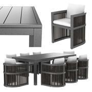 Restauratiehardware Capri ALUMINIUM ARMSTOEL en RECHTHOEKIGE UITBREIDING EETTAFEL 3d model