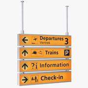 Gele luchthaven bewegwijzering 3d model