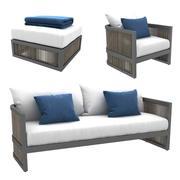 Restoration Hardware Capri lounge chair sofa ottoman 3d model