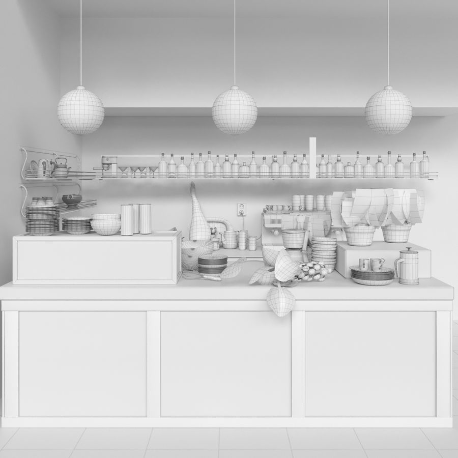 Cafe 40 royalty-free 3d model - Preview no. 2