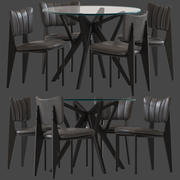Cult Furniture Ottie Chair and Hawkin Table 3d model