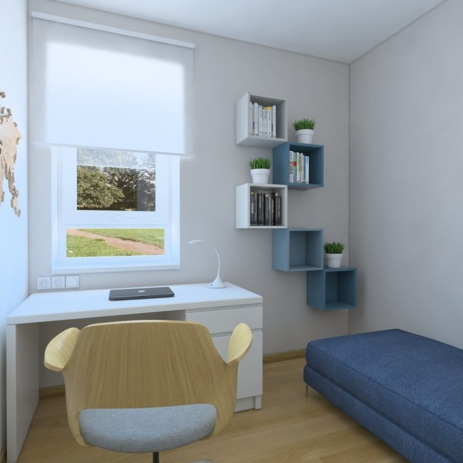 Simple work room royalty-free 3d model - Preview no. 3