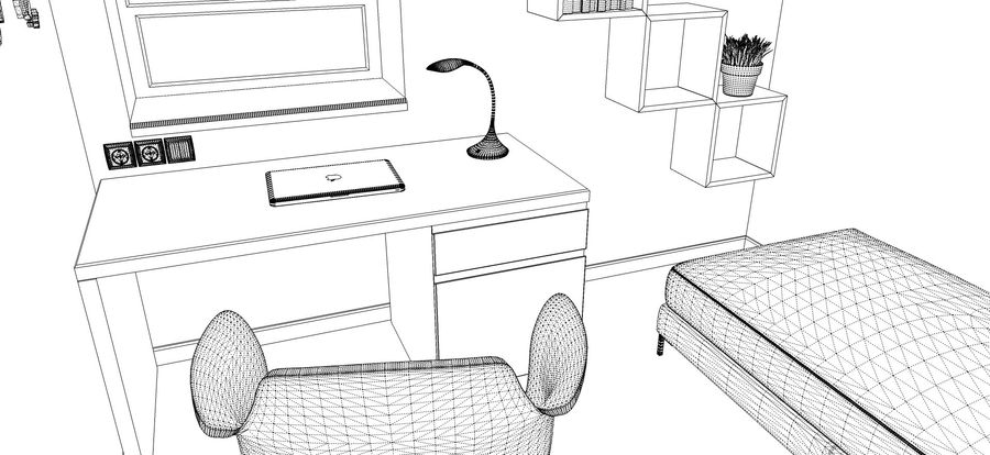 Simple work room royalty-free 3d model - Preview no. 4