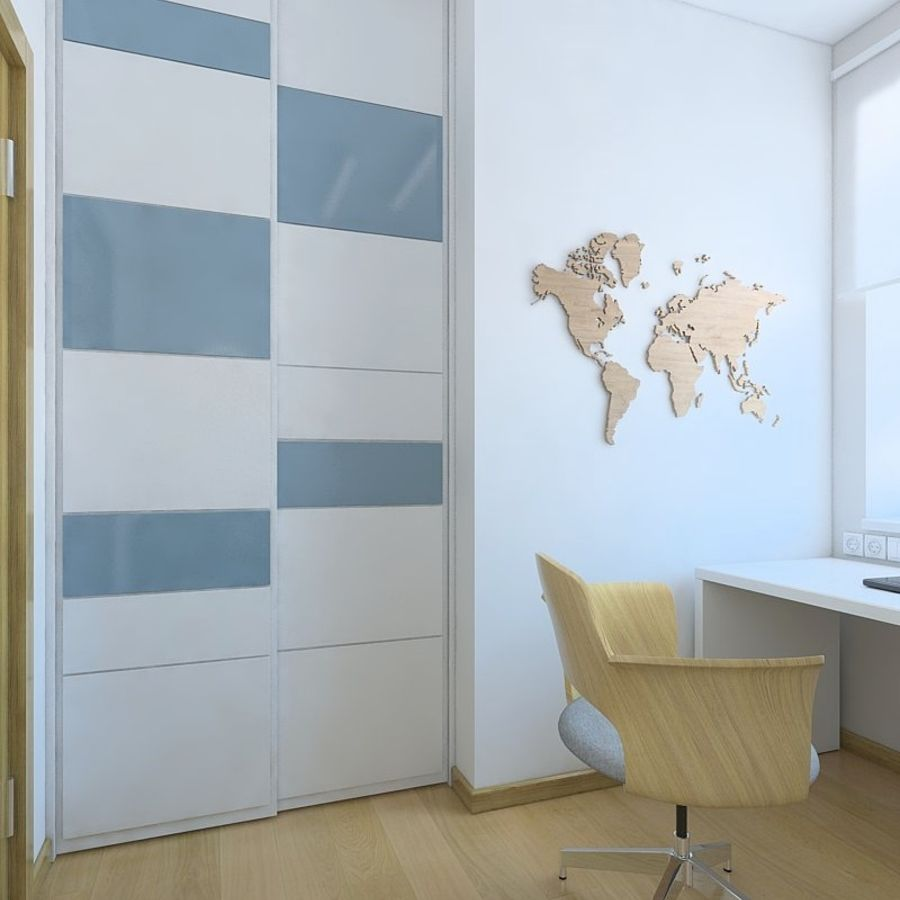 Simple work room royalty-free 3d model - Preview no. 2