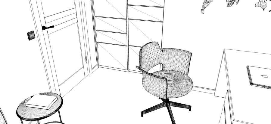Simple work room royalty-free 3d model - Preview no. 5