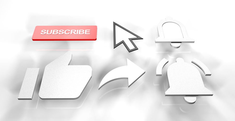 Подписаться на Youtube - Suscribete y like royalty-free 3d model - Preview no. 1