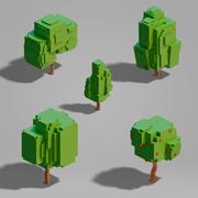 Zestaw drzew - Blocky 3d model