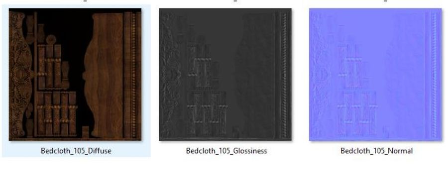 Bedcloth 105 royalty-free 3d model - Preview no. 6