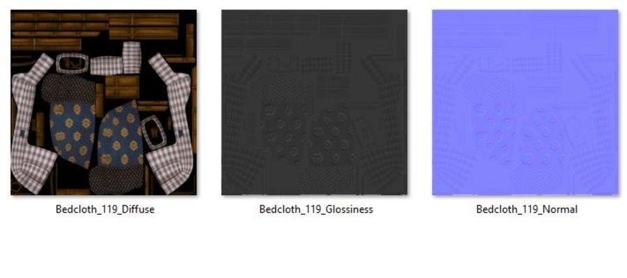 Bedcloth 119 royalty-free 3d model - Preview no. 6