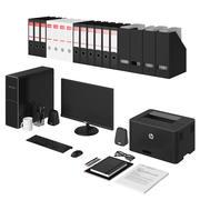 Office vit pc-uppsättning 3d model