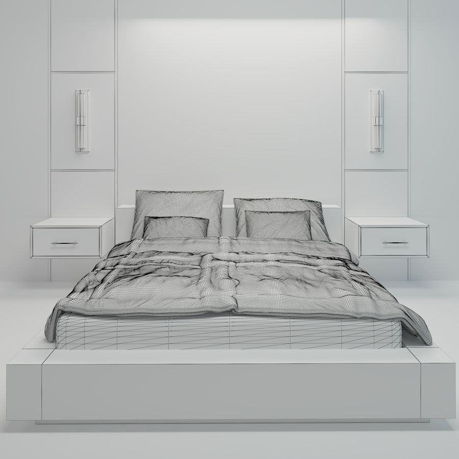 Bedroom Bed Wall royalty-free 3d model - Preview no. 6