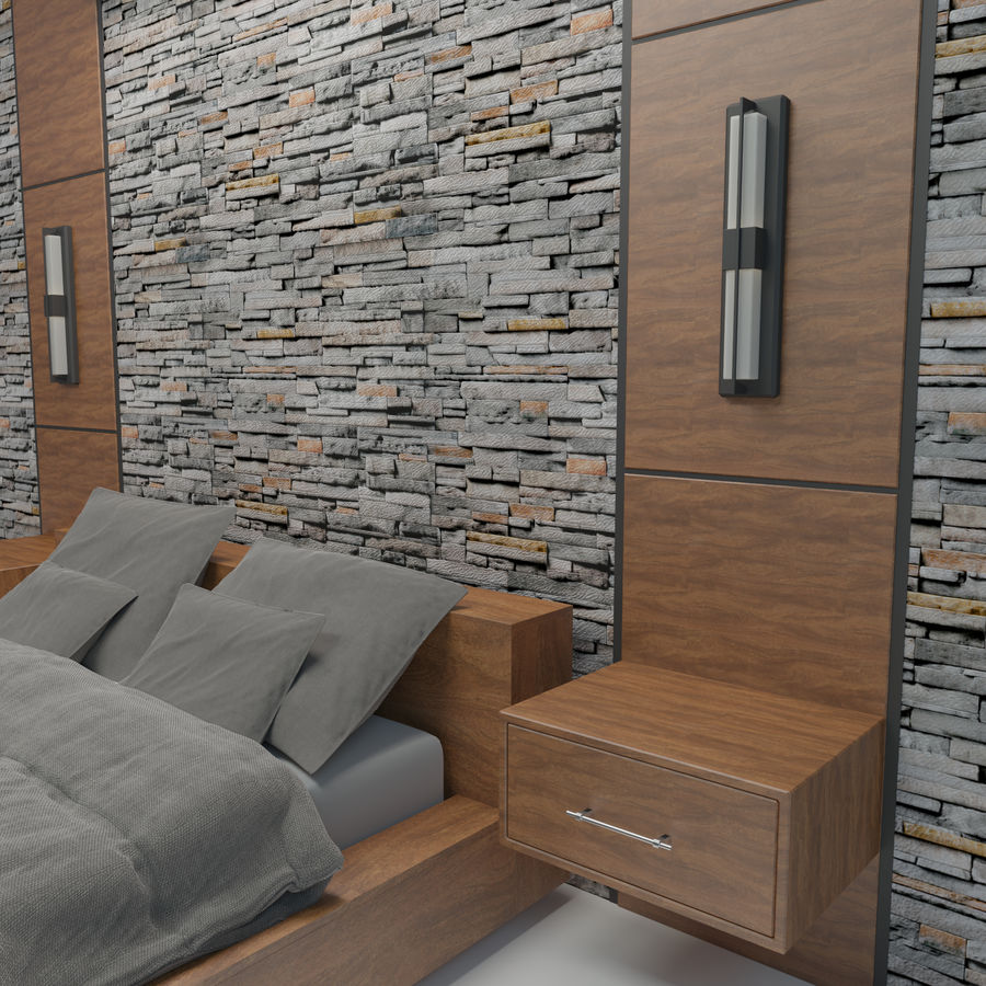 Bedroom Bed Wall royalty-free 3d model - Preview no. 5