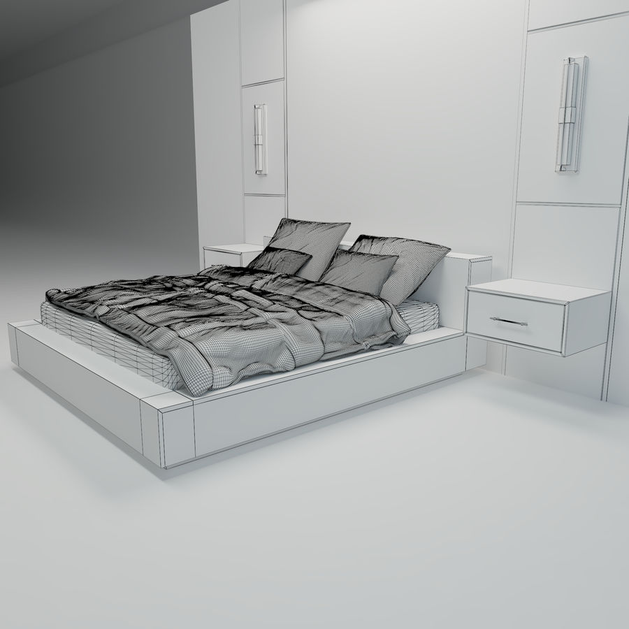 Bedroom Bed Wall royalty-free 3d model - Preview no. 7