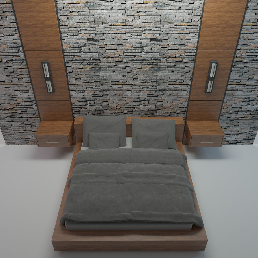 Bedroom Bed Wall royalty-free 3d model - Preview no. 4