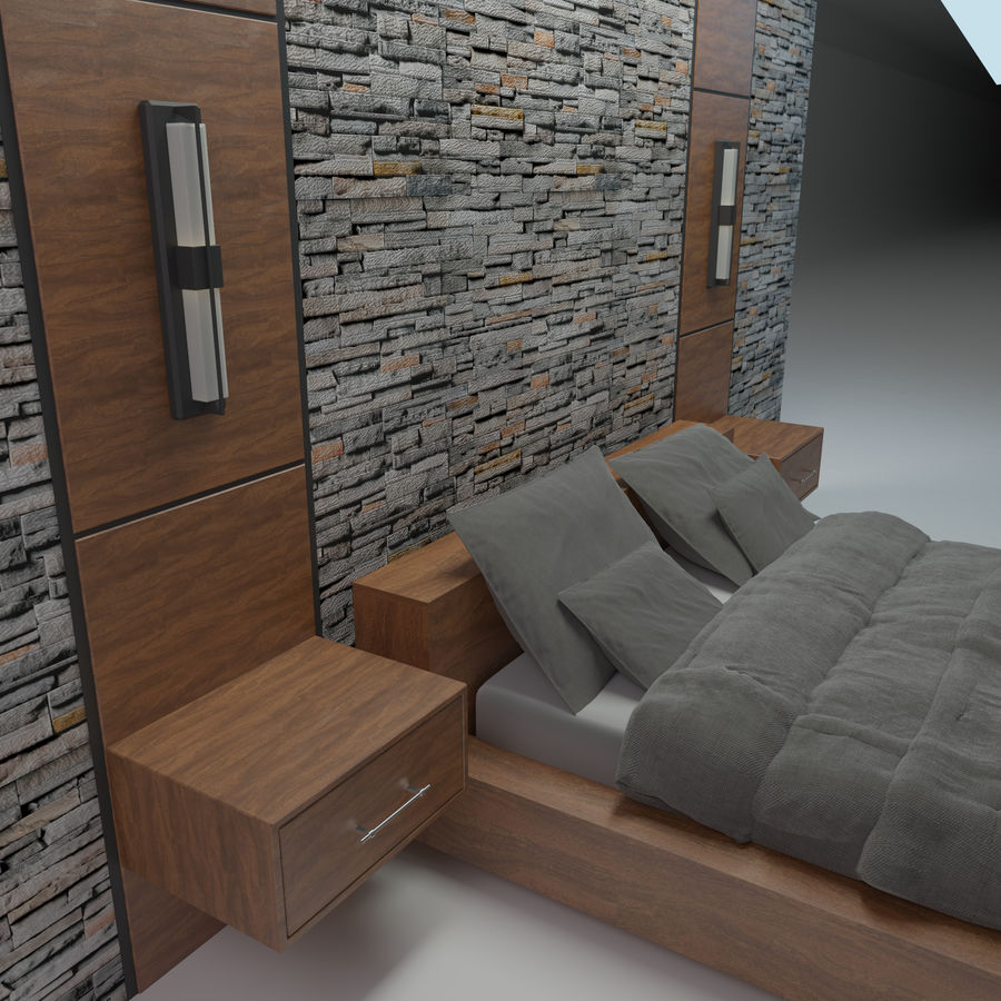 Bedroom Bed Wall royalty-free 3d model - Preview no. 3