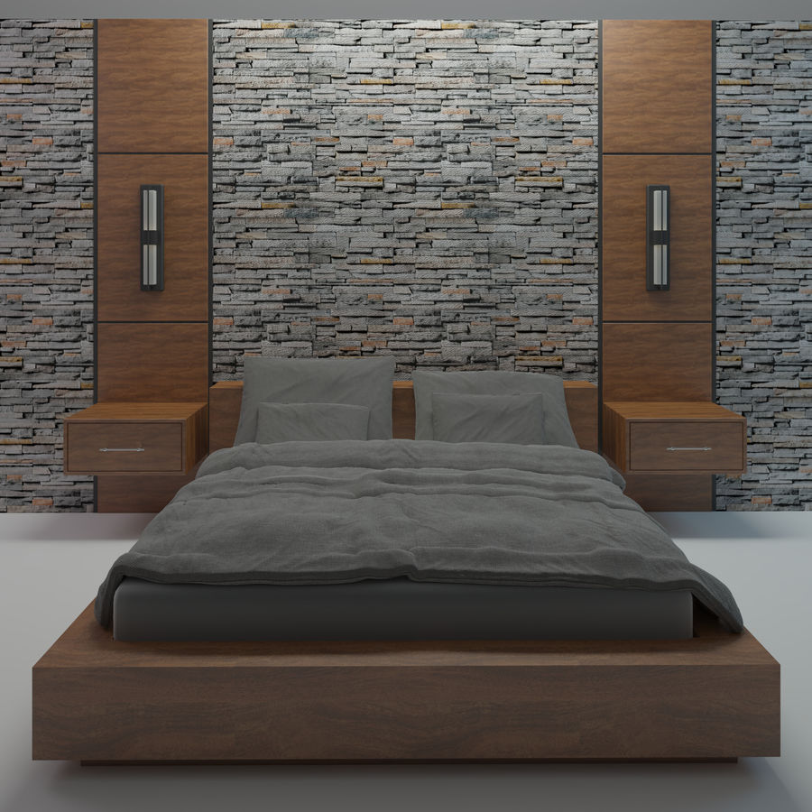 Bedroom Bed Wall royalty-free 3d model - Preview no. 1