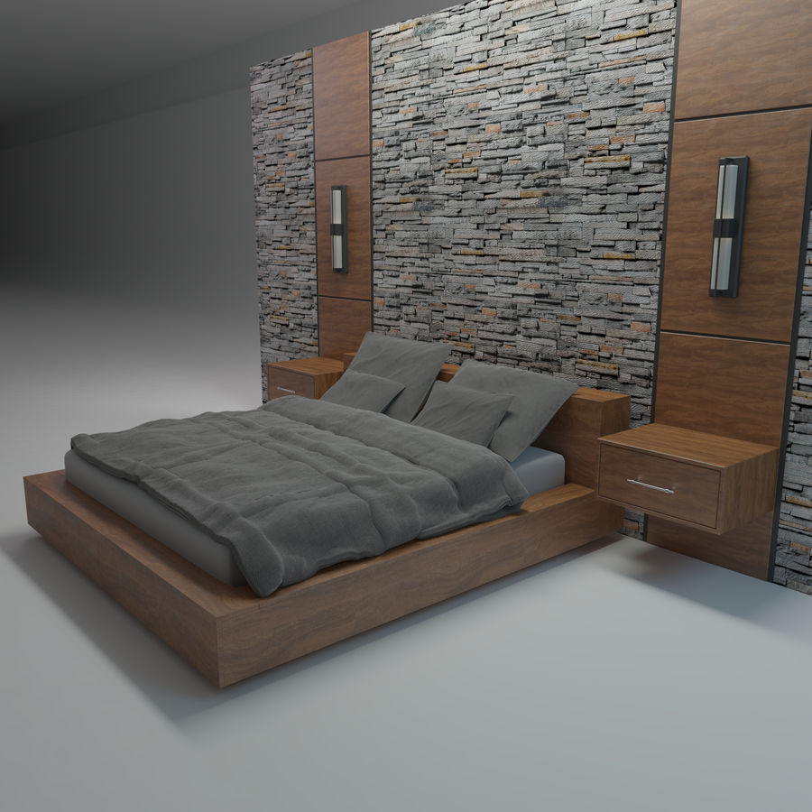 Bedroom Bed Wall royalty-free 3d model - Preview no. 2