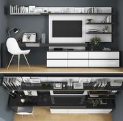 Stojak na telewizor i miejsce pracy 3d model