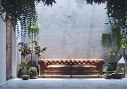 Cena interior do pátio realista com plantas em vasos 3d model