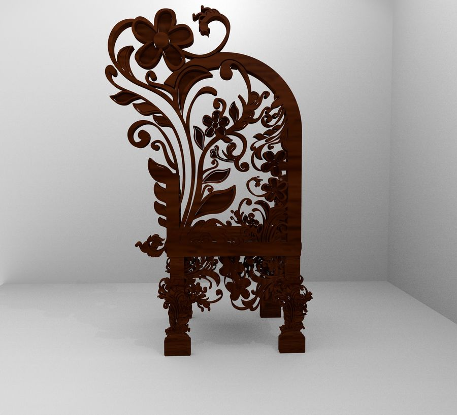 Romanesque Ornamental Chairwood royalty-free 3d model - Preview no. 5